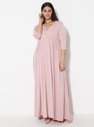 Powder - Unlined - V neck Collar -  - Plus Size Dress
