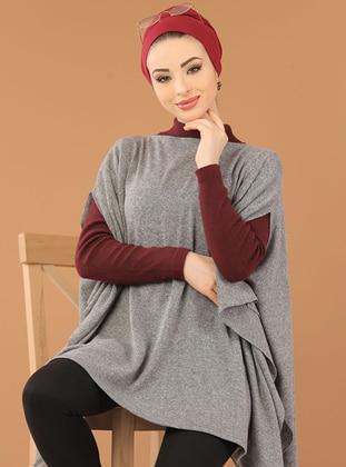 Gray - Round Collar -  - Poncho
