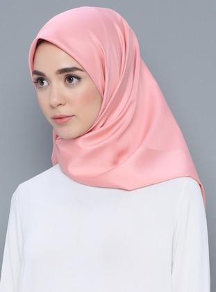 Pink - Plain - Litho - %100 Silk - Swarovski - Scarf