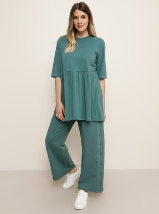 Green -  - Plus Size Pants