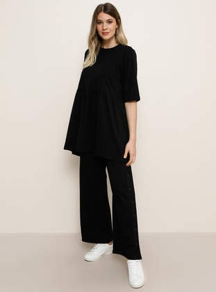 Black -  - Plus Size Pants - Alia