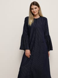 Silver tone - Navy Blue - Stripe - Unlined - Crew neck - Viscose - Plus Size Dress