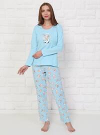 Blue - Crew neck - Multi -  - Pyjama Set