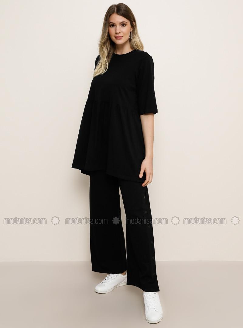 Black -  - Plus Size Pants