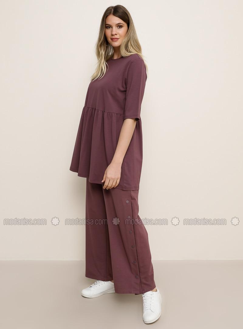 Purple -  - Plus Size Pants