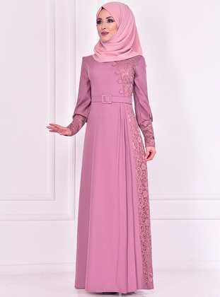 Dusty Rose - Crew neck - Muslim Evening Dress