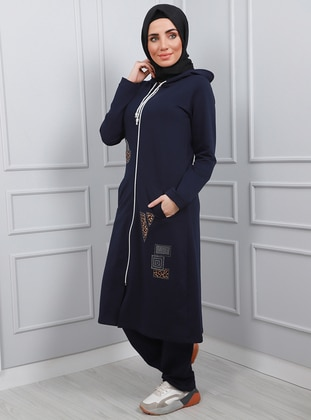 Navy Blue - Viscose - Tracksuit Set