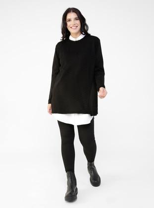 Oversize Natural Fabric Molder Jeans - Black - Alia