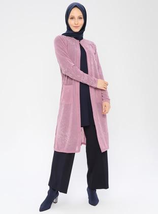 Pink - Multi - Crew neck - Cardigan
