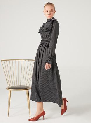 White - Black - Stripe - Crew neck - Fully Lined - Modest Dress