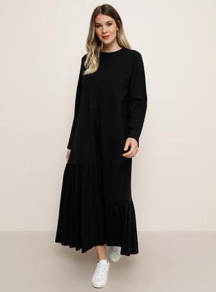 Black - Crew neck - Plus Size Dress - Alia