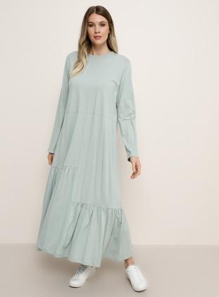 Sea-green - Green - Crew neck - Plus Size Dress - Alia