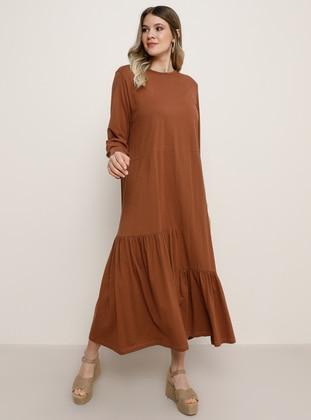 Tan - Crew neck - Plus Size Dress - Alia