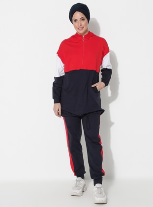 Red - Navy Blue -  - Tracksuit Set