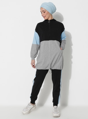 Blue - Black -  - Tracksuit Set