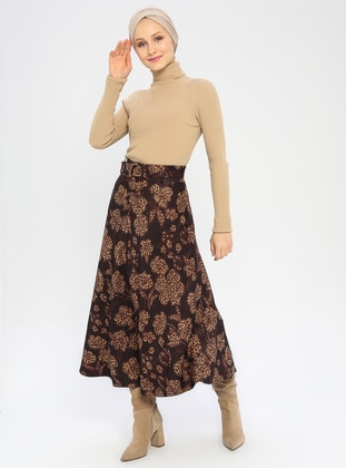 Brown - Multi - Fully Lined - Viscose - Skirt