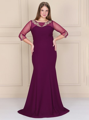 Plum - Fully Lined - Crew neck - Crepe - Muslim Plus Size Evening Dress