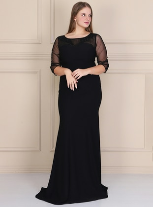 Black - Fully Lined - Crew neck - Crepe - Muslim Plus Size Evening Dress