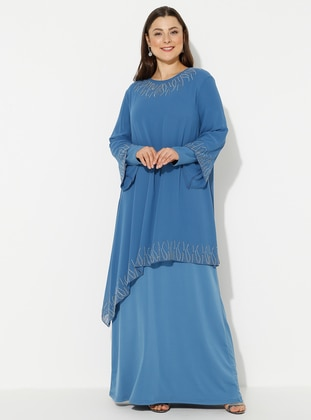 Baby Blue - Unlined - Crew neck - Plus Size Dress
