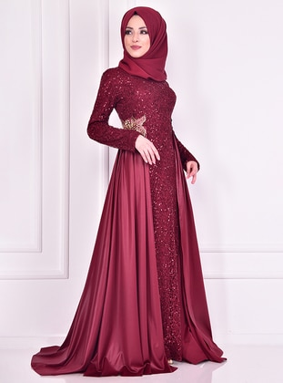 Maroon - Fully Lined - Crew neck - Muslim Evening Dress - AYŞE MELEK TASARIM