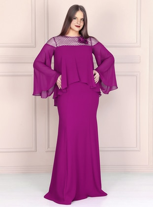 Purple - Fully Lined - Crew neck - Crepe - Muslim Plus Size Evening Dress