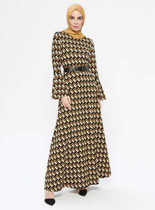 Yellow - Black - Multi - Crew neck - Unlined - Dress