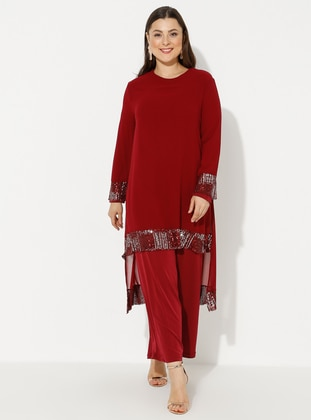 Maroon - Unlined - Crew neck - Plus Size Jumpsuits