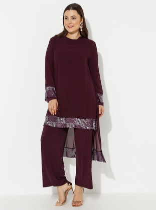 Purple - Unlined - Crew neck - Plus Size Jumpsuits