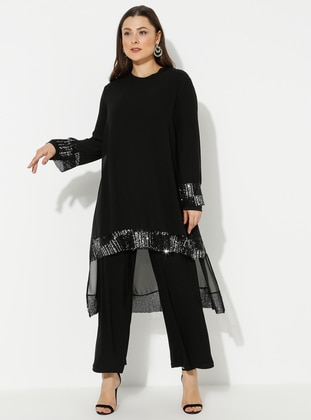 Black - Unlined - Crew neck - Plus Size Jumpsuits - Amine Hüma