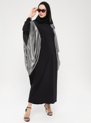 Silver tone - Black - Unlined - Crew neck - Abaya