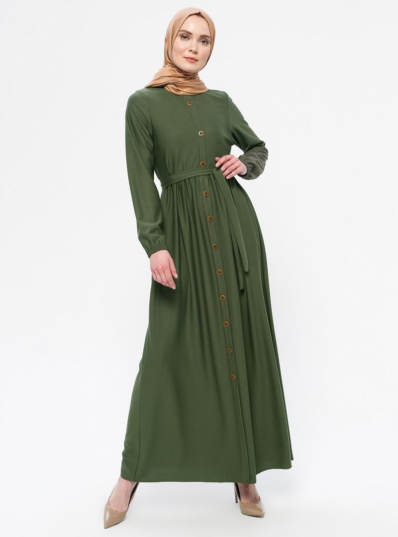 Tesettür Elbise ECESUN Haki Kadın 38