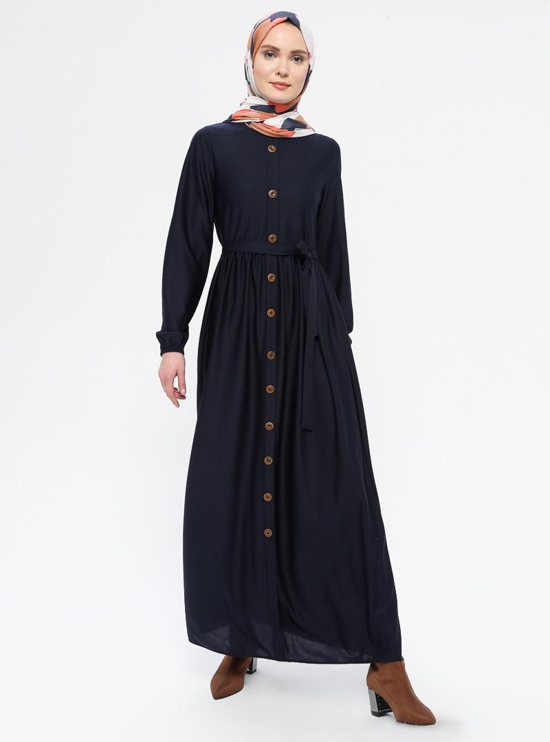 Tesettür Elbise ECESUN Lacivert Kadın 38