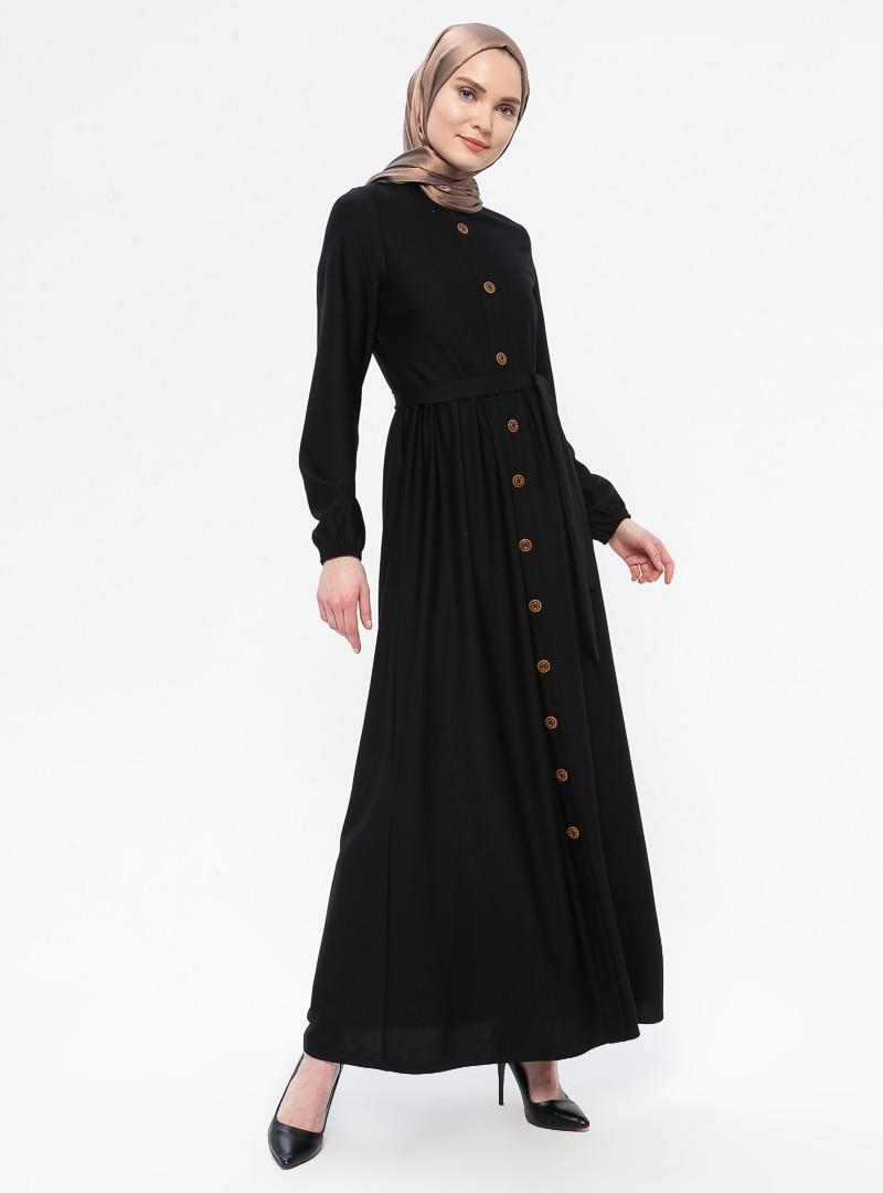 Tesettür Elbise ECESUN Siyah Kadın 38