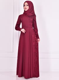 Maroon - Crew neck - Muslim Evening Dress