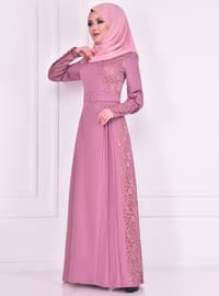 Dusty Rose - Crew neck - Muslim Evening Dress