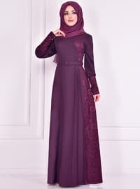 Plum - Crew neck - Muslim Evening Dress
