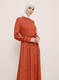 Ekru - Tarçın - Çok renkli - Fransız yakalı - Astarsız kumaş - Viskon - Elbise