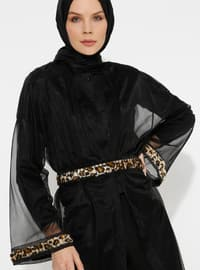 Black - Leopard - Unlined - Shawl Collar - Abaya