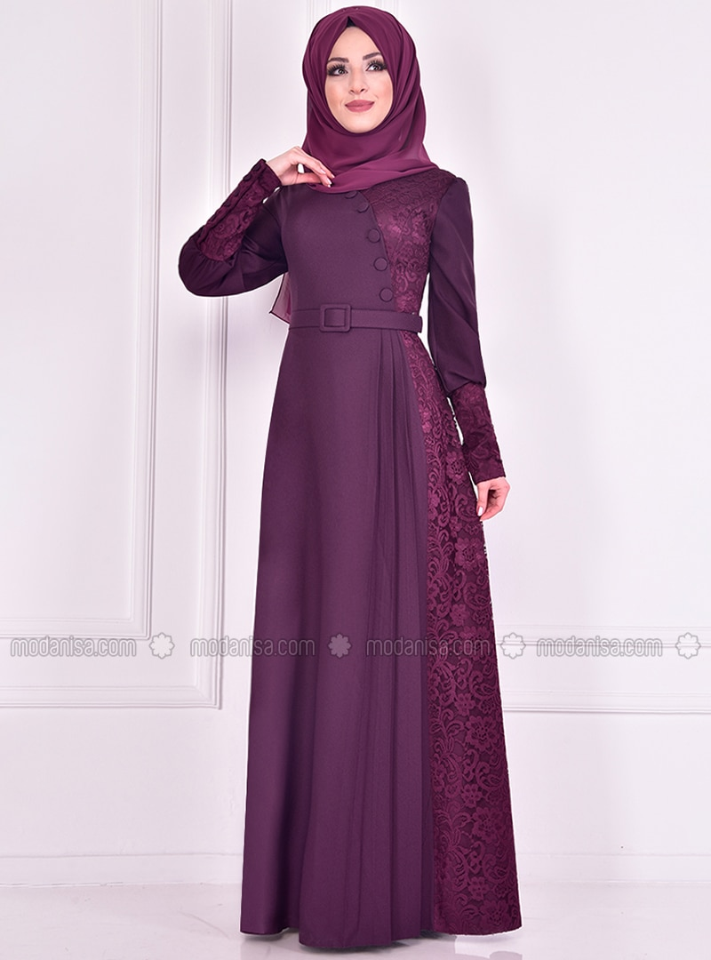 Plum - Crew neck - Muslim Evening Dress