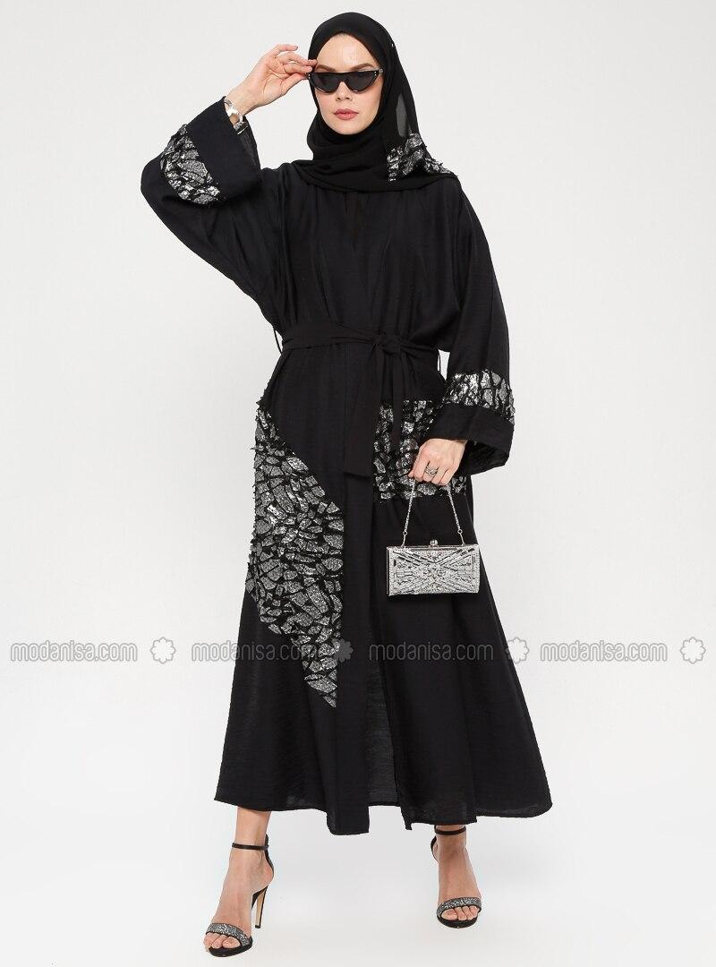 Silver tone - Black - Unlined - Shawl Collar -  - Abaya