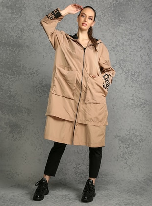 Stone - Fully Lined - Shawl Collar - Trench Coat