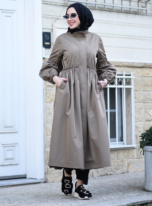 Mink - Fully Lined - Crew neck - Trench Coat - Neways