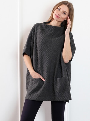 Anthracite - Boat neck - Poncho