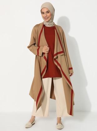 Camel - Stripe - Rayon - Cardigan