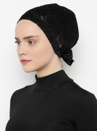 Black - Lace up - Lace - Bonnet