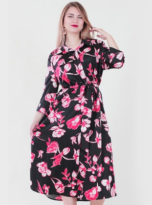 Red - Black - Floral - Point Collar - Fully Lined - Dress