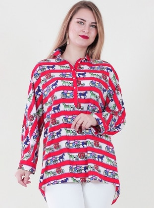 White - Red - Multi - Point Collar - Tunic