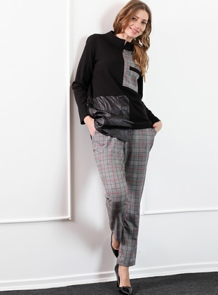 Black - Plaid - Viscose - Pants