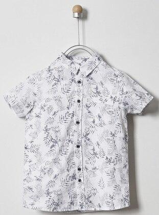 Multi - Point Collar -  - White - Boys` Shirt