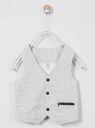 V neck Collar - - Unlined - White - Boys` Vest